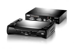 KE6940-AX-G KVM-удлинитель с передачей сигналов по TCP/IP (в среде LAN L2), поддержкой 2-ух мониторов и интерфейсами USB, DVI-I, аудио, RS-232