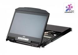 """CL3884NW —многооконный KVM переключатель с LCD монитором и двухрельсовым конструктивом для установки в 19""""стойку высотой 1U"""