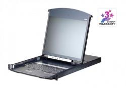KL1116VN-AXA-RG 16-портовый Dual Rail КВМ-переключатель с ЖК дисплеем, использованием кабеля Cat 5, c доступом по IP и поддержкой 1-локального и 1-удаленного пользовательских доступов